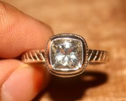 Natural Aquamarine 925 Silver Ring Size US (6) 501