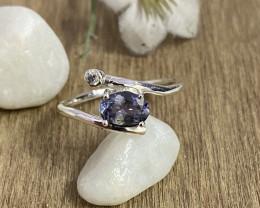 Natural Tanzanite 925 Silver Ring Size US (7.5) 601