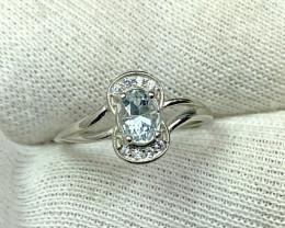 Natural 9.70 Carats Aquamarine 925 Silver Ring.