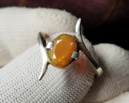 Natural Fire Opal 17.90 Carats Hand Made Ring