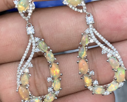 Natural Opal Earring with CZ.