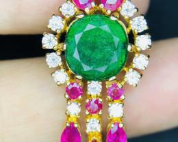 Natural Swat Emerald,Ruby,Diamond Earrings.