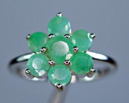 Natural Precious 7Pis Emerald 925 Silver Amazing Design Ring