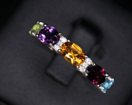 Gorgeous Natural Multi Stones & 925 Sterling  Silver Ring