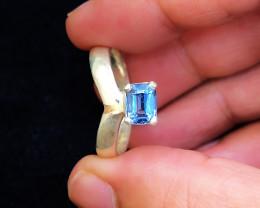 23.45 Ct Natural Blue Transparent Tourmaline Gemstone Ring Solid Silver
