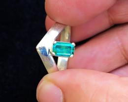 21 Ct Natural Greenish Transparent Tourmaline Gemstone Ring