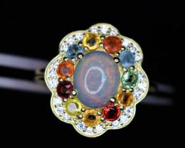 Gorgeous Natural Multi Fire Opal, Sapphire,  CZ & 925 Stylish Yellow Sterli