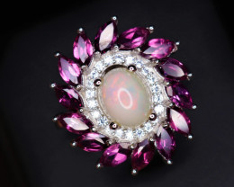 Gorgeous Natural Fire Opal, Garnet, CZ & 925 Stylish Sterling  Silver Ring