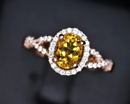 Gorgeous Natural Citrine, CZ & 925 Stylish Rose Gold Sterling  Silver Ring