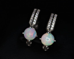 Attractive Natural Fire Opal, CZ & 925 Fancy Sterling Silver Earring