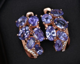 Gorgeous Natural Tanzanite, CZ & 925 Stylish Rose Gold Sterling Silver Earr