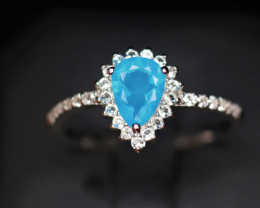 Gorgeous Natural Blue Opal, CZ & 925 Stylish Sterling  Silver Ring