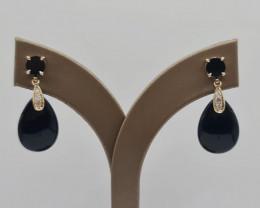 Stylish Natural Onxy And Diamond 9K Gold Earring