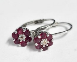 Stylish Natural Red Ruby And Topaz  Silver Earring