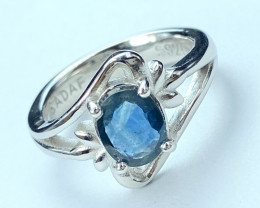 1.30ct.Blue Sapphire Top Quality Gemstone. Silver925 Ring.DBS 202