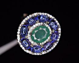 Natural 8 Pis Tanzanite ,1Crt +Emerald ,CZ 925 Silver Amazing Ring