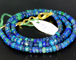 41 Crts Natural Welo Faceted Smoked Opal Beads Necklace 72