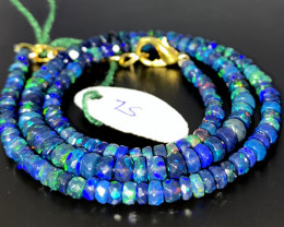 42 Crts Natural Welo Faceted Smoked Opal Beads Necklace 75