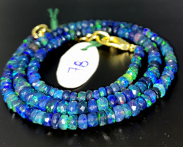 42 Crts Natural Welo Faceted Smoked Opal Beads Necklace 78