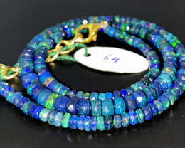 44 Crts Natural Welo Faceted Smoked Opal Beads Necklace 64