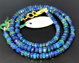 40 Crts Natural Welo Faceted Smoked Opal Beads Necklace 66