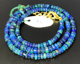 41 Crts Natural Welo Faceted Smoked Opal Beads Necklace 68