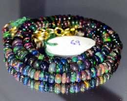 53 Crts Natural Welo Faceted Smoked Opal Beads Necklace 69