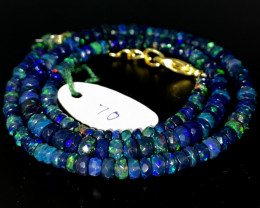 45 Crts Natural Welo Faceted Smoked Opal Beads Necklace 70
