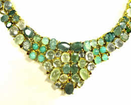 417.0 Tcw. Prehnite, Emerald, Chrysocolla Gold Plated Necklace - Gorgeous