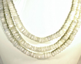 902.0 Tcw. Three Strand Moonstone Necklace - Gorgeous