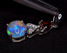 Natural  AAA Top Fire Opal , Rhodolite ,CZ 925 Silver Nice Pendant