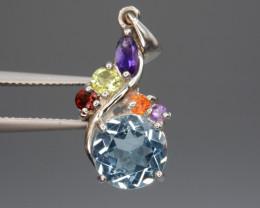 Natural Amethyst, Peridot, Citrine, Garnet, Blue Topaz Silver Pendant
