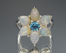 Beautiful Natural Fire Opal and Topaz Silver Ring 27.57 Cts