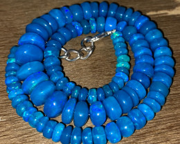 131.80 Crts Natural Welo Dyed Blue Opal Beads Necklace 233