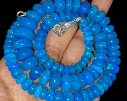 130.20 Crts Natural Welo Dyed Blue Opal Beads Necklace 228