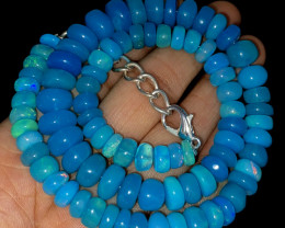147.45 Crts Natural Welo Dyed Blue Opal Beads Necklace 230