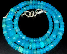 67.70 Crts Natural Welo Dyed Blue Faceted Opal Beads Necklace 238