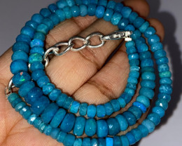 53.30 Crts Natural Welo Dyed Blue Faceted Opal Beads Necklace 241