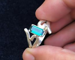 22.60 Ct Natural Blue Indicolite Transparent Tourmaline Gemstone Ring