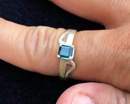 18.95 Ct Natural Blue Transparent Tourmaline Gemstone Ring