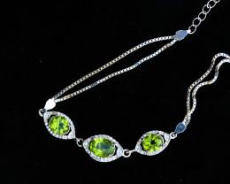 36.10 Ct Natural Greenish Transparent Peridot Bracelet Solid Sliver