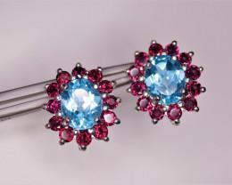 Gorgeous Natural Swiss Blue Topaz, Garnet & 925 Fancy Sterling  Silver Earr