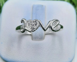 Natural Cubic Zircon 925 Silver Ring