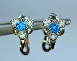 Natural 2Pis London Blue Topaz , CZ 925 Silver Earrings