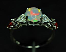Natural AAA Top Fire  Opal , 2Garnet,CZ  925 Silver Amazing Ring