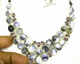 411.50 Tcw. Dendritic Opal / Sterling Silver Necklace - Gorgeous