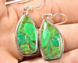 40.0 Tcw. Copper Mohave Green Turquoise 9.25 Sterling Silver Earrings - Stu