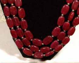 543.0 Tcw. 3 Strand Red Onyx Necklace - Gorgeous