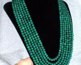 654.5 Tcw. Green Onyx 6 Strand Adjustable Necklace - Elegant