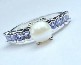 Ravishing Tanzanite+ Pearls Gemstone Silver925 Ring. DTP212